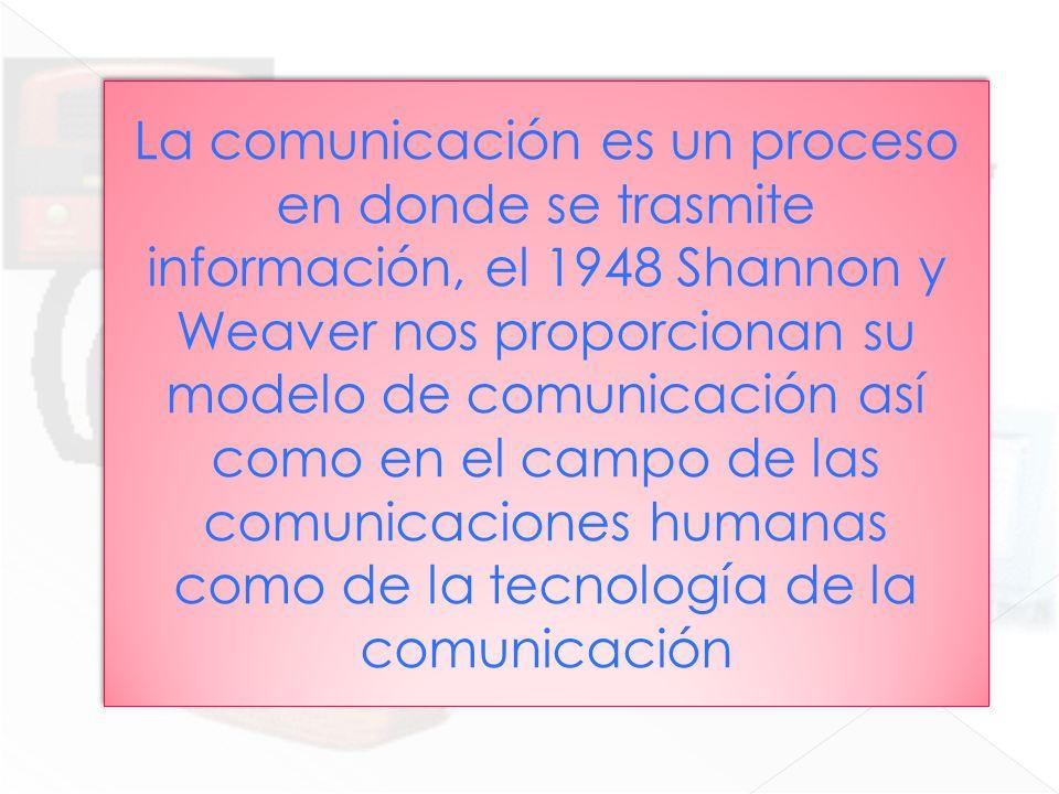 La comunicación es un proceso en donde se trasmite información, el 1948 Shannon y Weaver nos proporcionan su modelo de comunicación así como en el campo de las comunicaciones humanas como de la tecnología de la comunicación