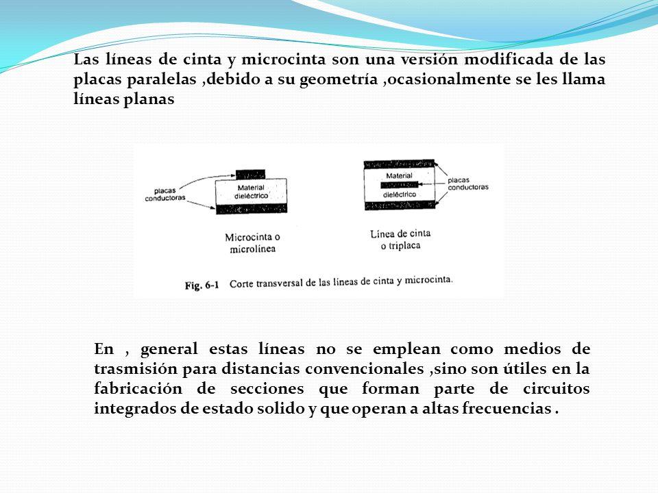 Las líneas de cinta y microcinta son una versión modificada de las placas paralelas,debido a su geometría,ocasionalmente se les llama líneas planas En, general estas líneas no se emplean como medios de trasmisión para distancias convencionales,sino son útiles en la fabricación de secciones que forman parte de circuitos integrados de estado solido y que operan a altas frecuencias.