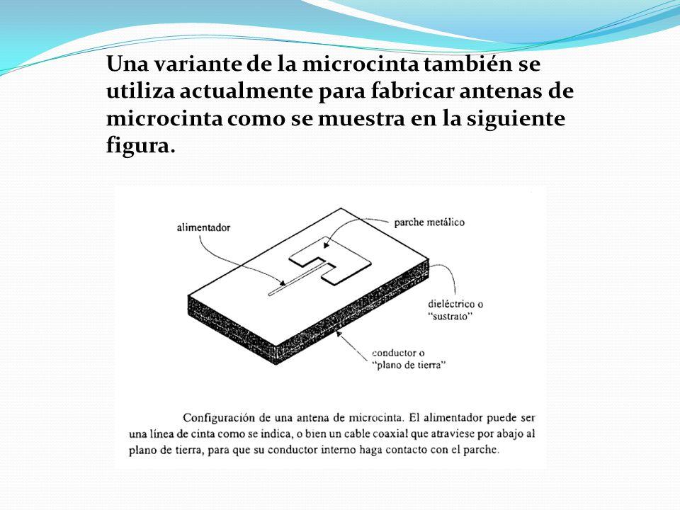 Una variante de la microcinta también se utiliza actualmente para fabricar antenas de microcinta como se muestra en la siguiente figura.