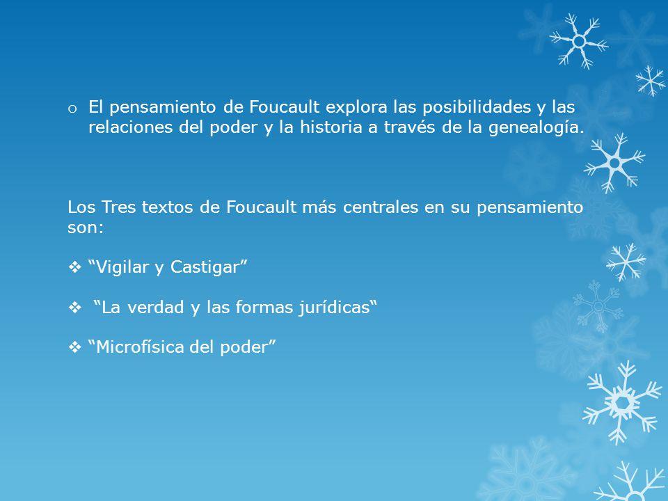 o El pensamiento de Foucault explora las posibilidades y las relaciones del poder y la historia a través de la genealogía.