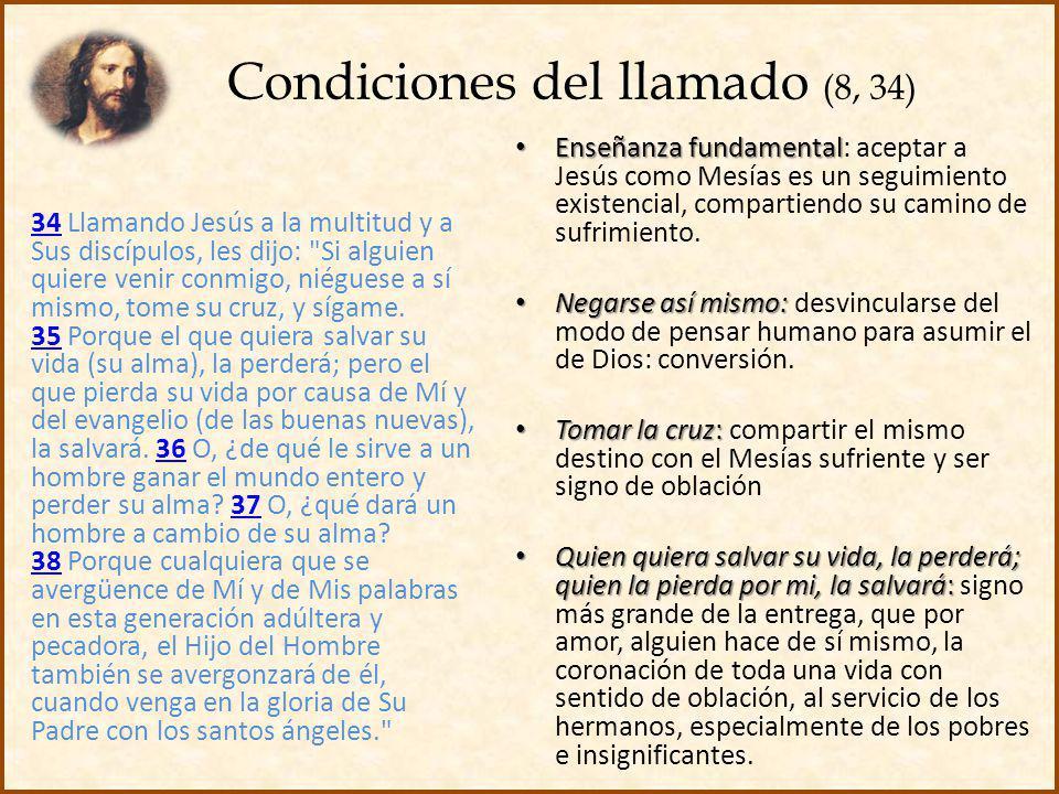 Condiciones del llamado (8, 34) 3434 Llamando Jesús a la multitud y a Sus discípulos, les dijo: