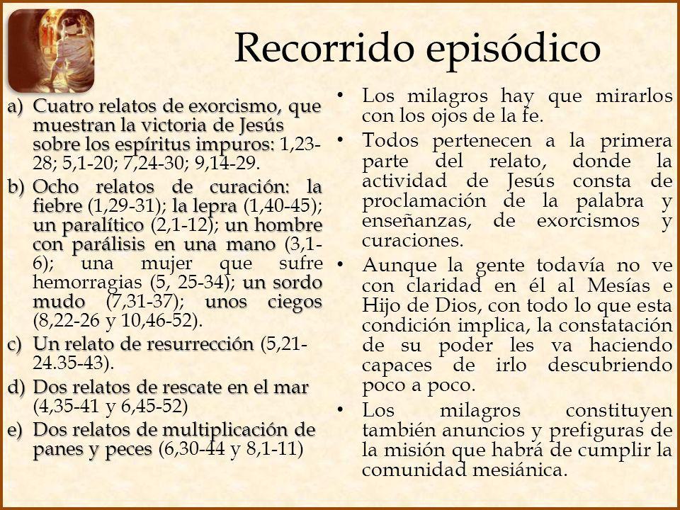 Recorrido episódico a)Cuatro relatos de exorcismo, que muestran la victoria de Jesús sobre los espíritus impuros: a)Cuatro relatos de exorcismo, que m
