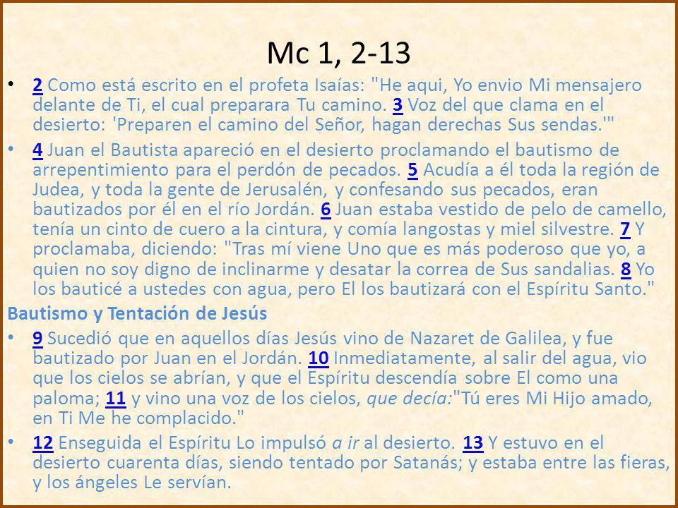 El rol del precursor en los inicios del EvMc Presentación de Juan 1.El precursor en concordancia con las Escrituras (1,2-3) 2.La actividad del Bautista: bautizando y proclamando (1,4-5) 3.Comportamiento de Juan y anuncia la llegada del Mesías: el más fuerte (1,6- 8) 4.Encuentro con el Mesías en el bautismo (1, 9-11) Tres relaciones fundamentales del Mesías: 1.Con el Bautista como precursor prometido por las Escrituras (1, 2-8) 2.Con Dios, de quien es el Hijo amado y el Ungido (1, 9-11) 3.Con Satanás, a quien ha venido a destruir (1, 12-13)
