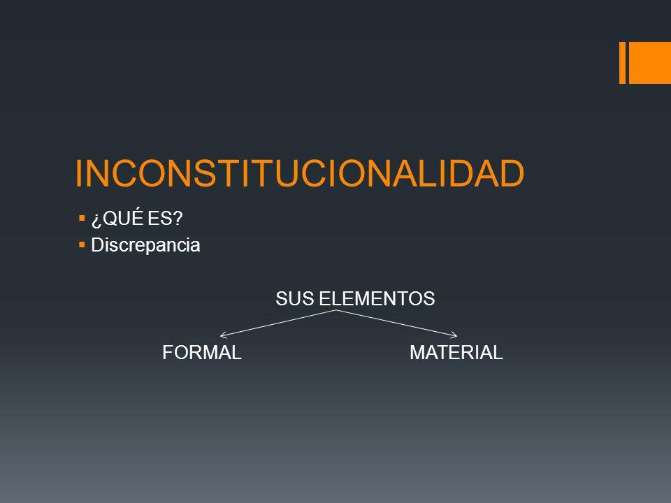 INCONSTITUCIONALIDAD ¿QUÉ ES? Discrepancia SUS ELEMENTOS FORMAL MATERIAL