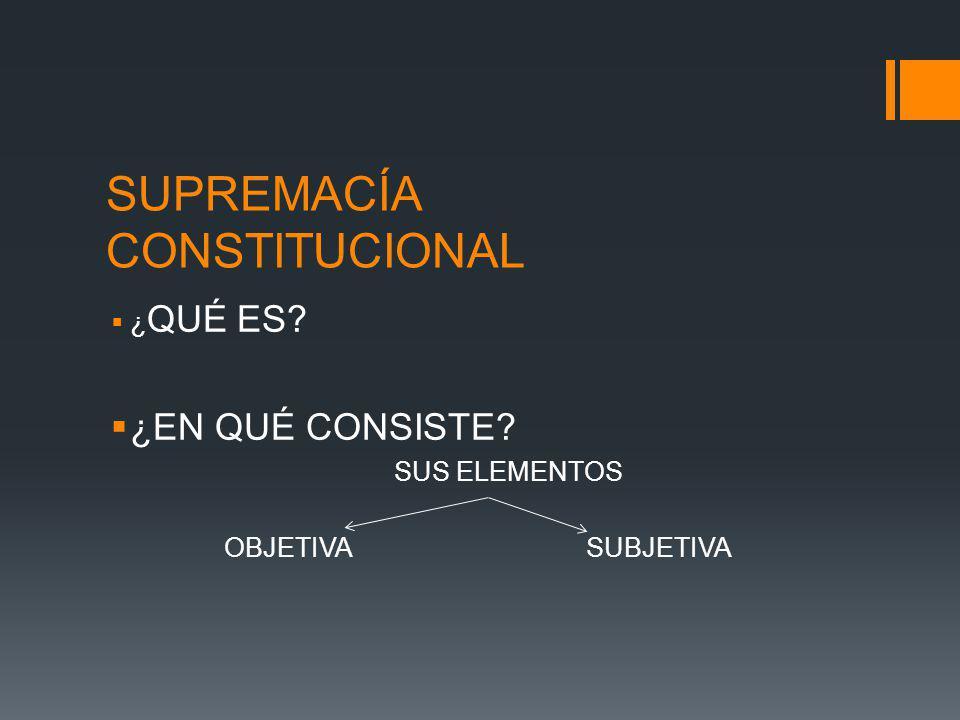 SUPREMACÍA CONSTITUCIONAL ¿ QUÉ ES? ¿EN QUÉ CONSISTE? SUS ELEMENTOS OBJETIVASUBJETIVA