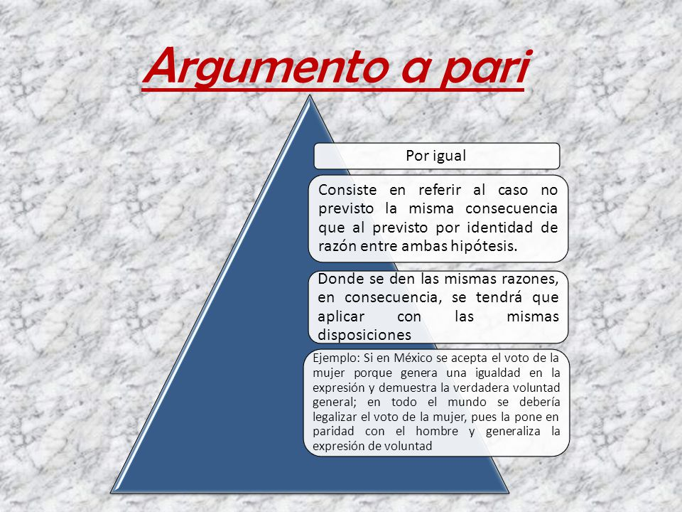 Argumento a pari Por igual Consiste en referir al caso no previsto la misma consecuencia que al previsto por identidad de razón entre ambas hipótesis.