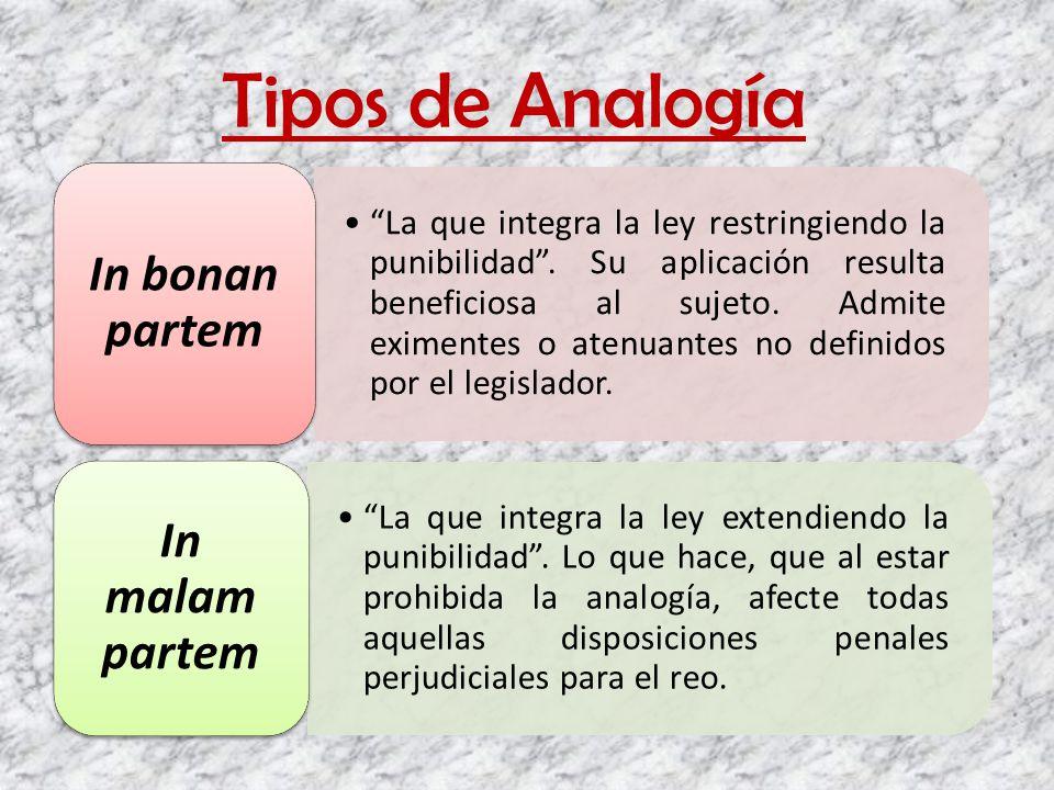 Tipos de Analogía La que integra la ley restringiendo la punibilidad. Su aplicación resulta beneficiosa al sujeto. Admite eximentes o atenuantes no de