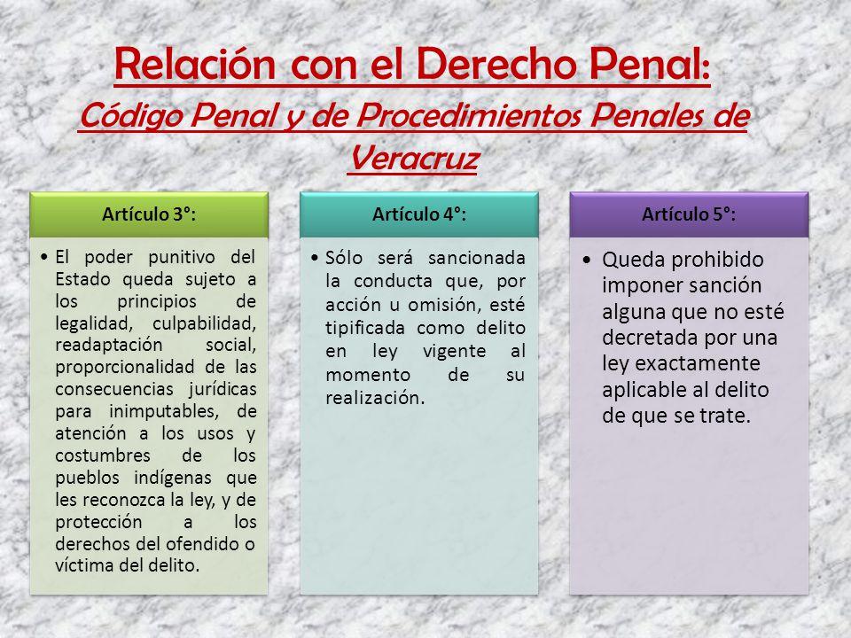 Relación con el Derecho Penal: Código Penal y de Procedimientos Penales de Veracruz Artículo 3°: El poder punitivo del Estado queda sujeto a los princ