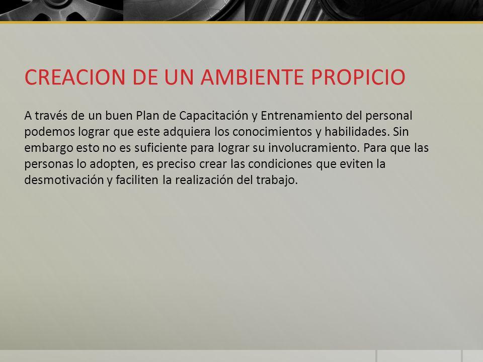 CREACION DE UN AMBIENTE PROPICIO A través de un buen Plan de Capacitación y Entrenamiento del personal podemos lograr que este adquiera los conocimien