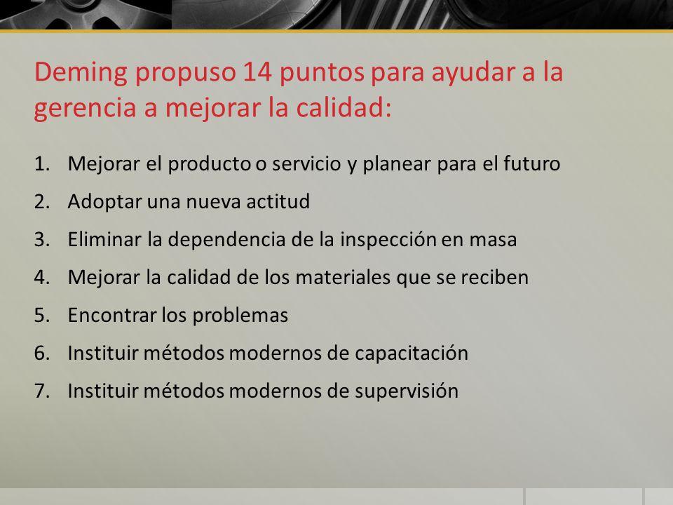 Deming propuso 14 puntos para ayudar a la gerencia a mejorar la calidad: 1.Mejorar el producto o servicio y planear para el futuro 2.Adoptar una nueva
