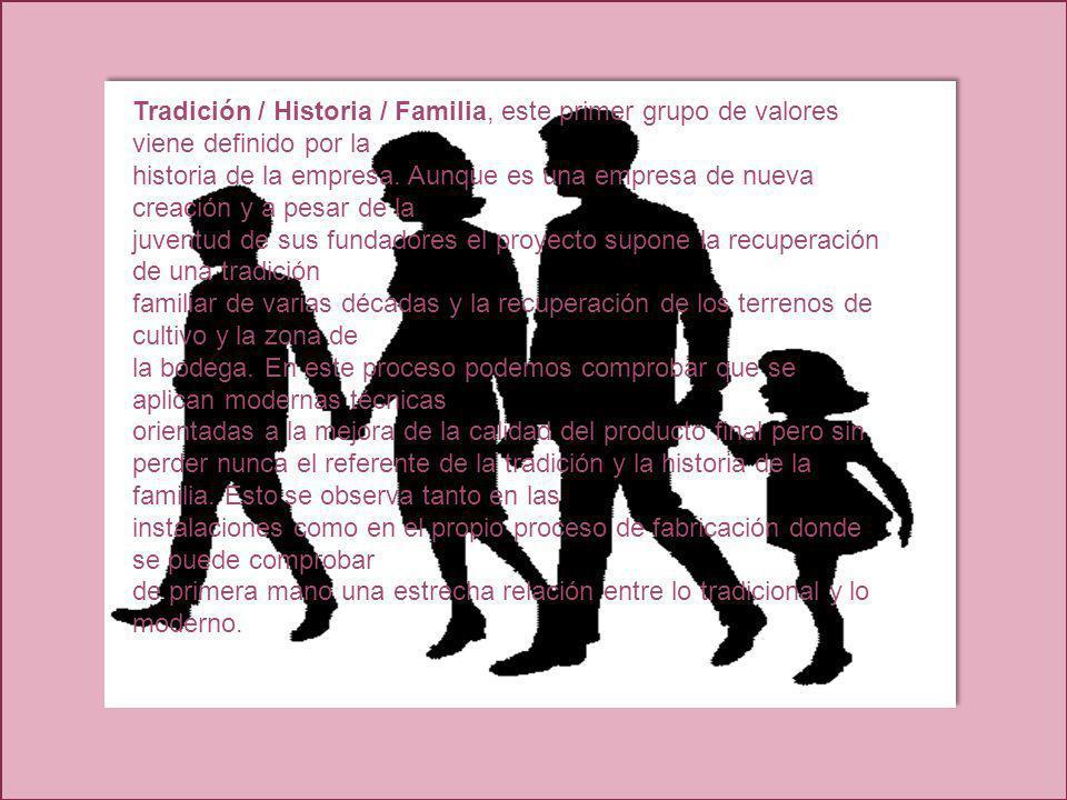 Tradición / Historia / Familia, este primer grupo de valores viene definido por la historia de la empresa. Aunque es una empresa de nueva creación y a