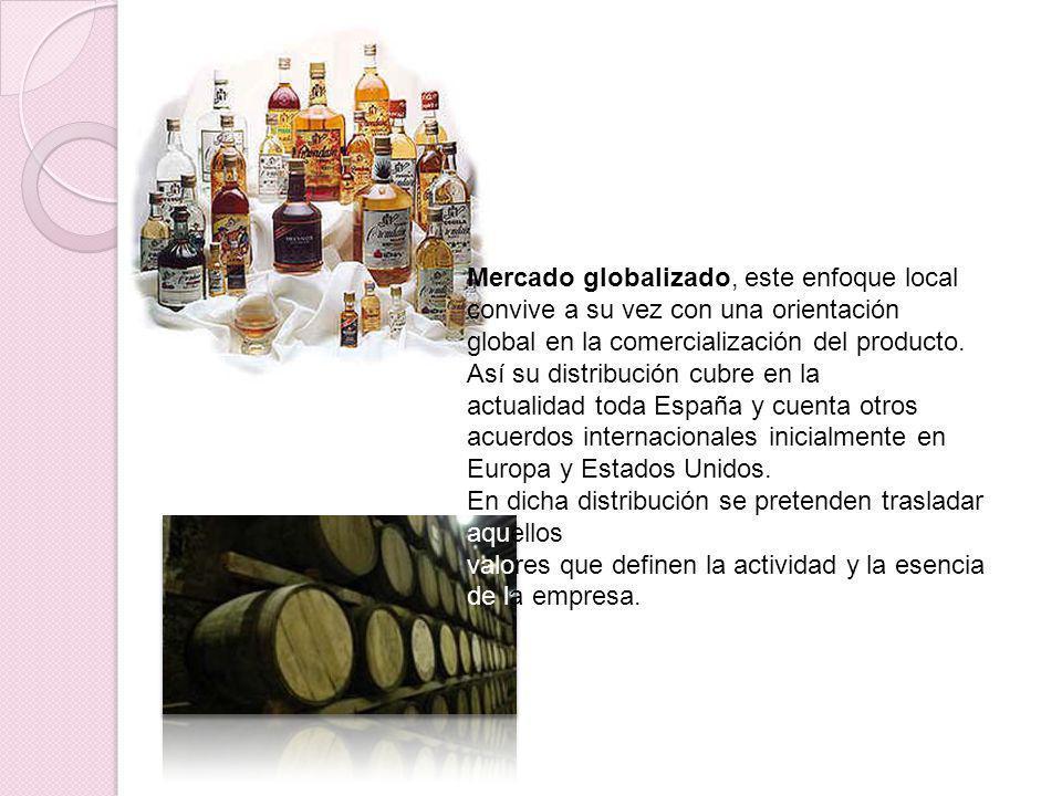 Mercado globalizado, este enfoque local convive a su vez con una orientación global en la comercialización del producto. Así su distribución cubre en
