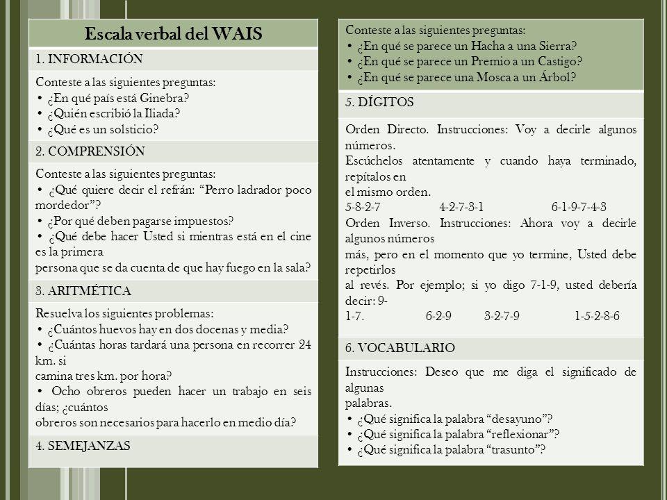 Escala verbal del WAIS 1.