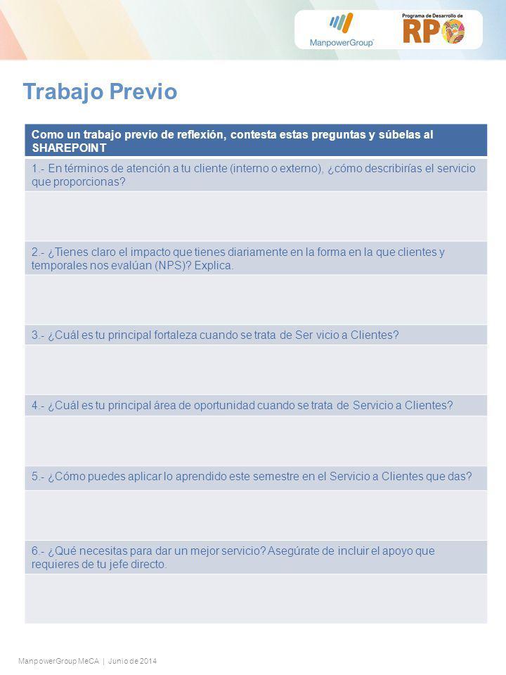 ManpowerGroup MeCA | Junio de 2014 Trabajo Previo Como un trabajo previo de reflexión, contesta estas preguntas y súbelas al SHAREPOINT 1.- En términos de atención a tu cliente (interno o externo), ¿cómo describirías el servicio que proporcionas.