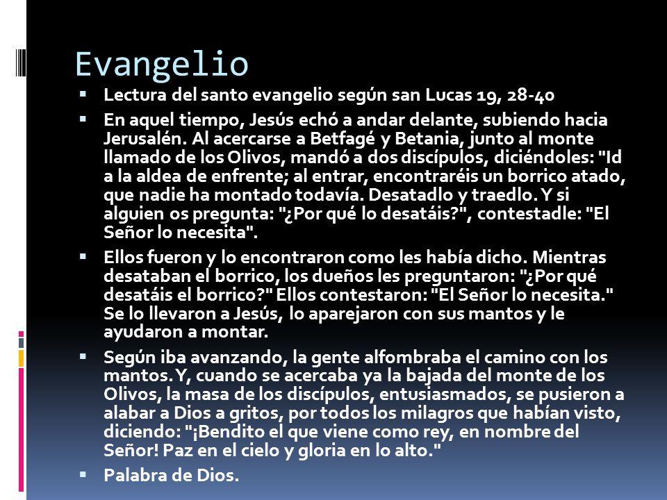 Evangelio Lectura del santo evangelio según san Lucas 19, 28-40 En aquel tiempo, Jesús echó a andar delante, subiendo hacia Jerusalén. Al acercarse a