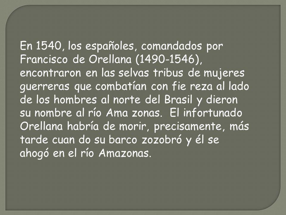 En 1540, los españoles, comandados por Francisco de Orellana (1490-1546), encontraron en las selvas tribus de mujeres guerreras que combatían con fie
