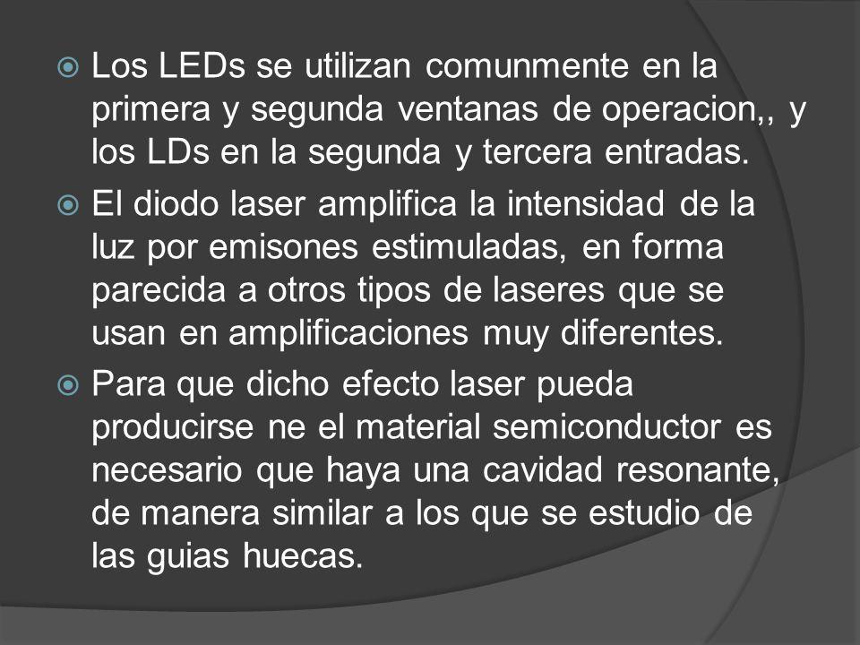 Los LEDs se utilizan comunmente en la primera y segunda ventanas de operacion,, y los LDs en la segunda y tercera entradas. El diodo laser amplifica l