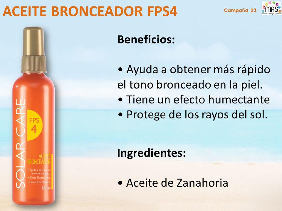 Beneficios: Ayuda a obtener más rápido el tono bronceado en la piel.
