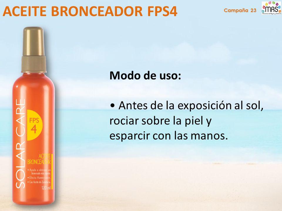 Modo de uso: Antes de la exposición al sol, rociar sobre la piel y esparcir con las manos.