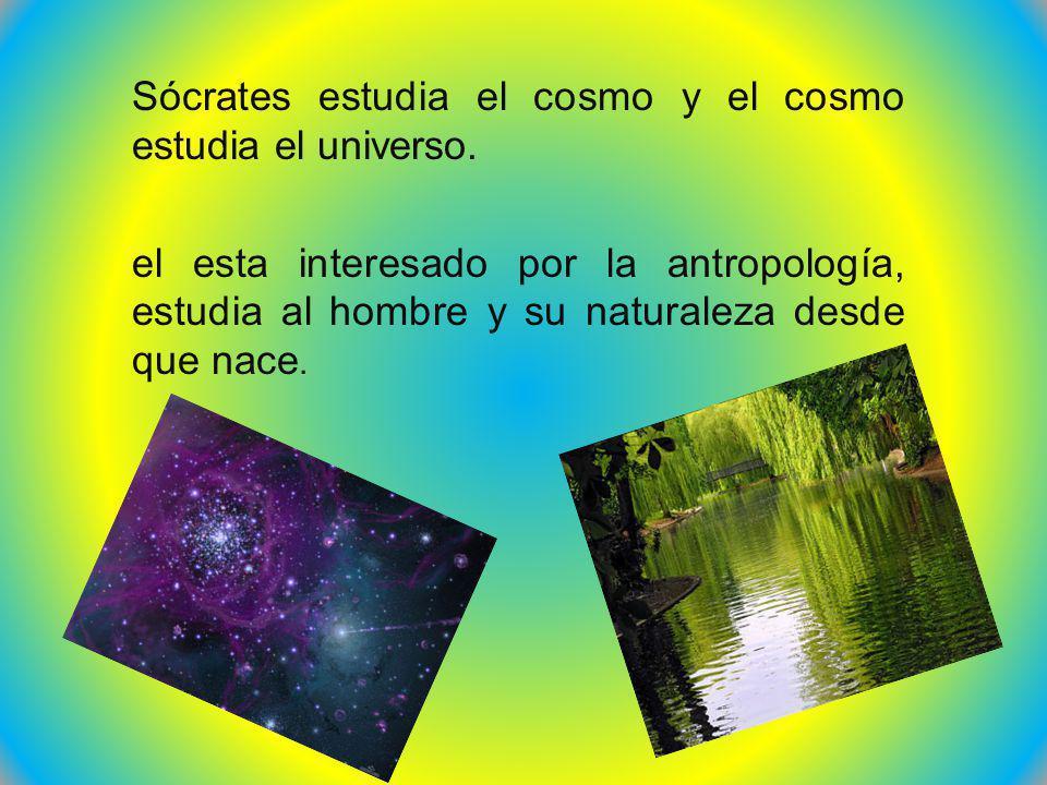 Sócrates estudia el cosmo y el cosmo estudia el universo. el esta interesado por la antropología, estudia al hombre y su naturaleza desde que nace.