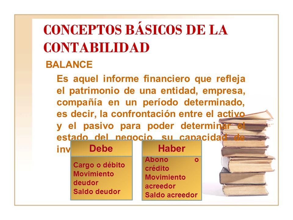 CONCEPTOS BÁSICOS DE LA CONTABILIDAD BALANCE Es aquel informe financiero que refleja el patrimonio de una entidad, empresa, compañía en un período determinado, es decir, la confrontación entre el activo y el pasivo para poder determinar el estado del negocio, su capacidad de inversión.