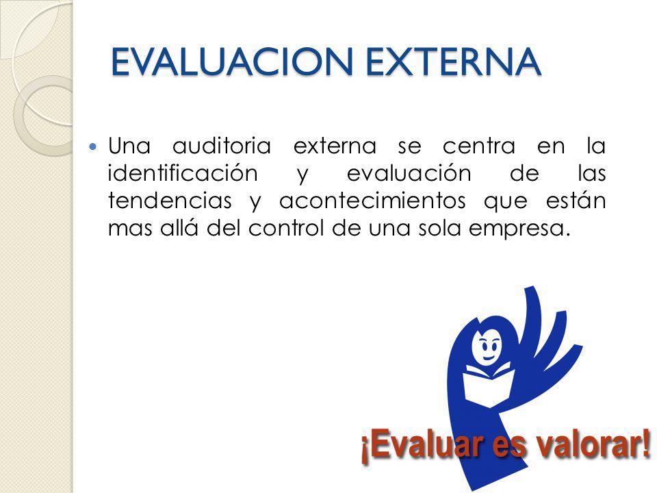 EVALUACION EXTERNA Una auditoria externa se centra en la identificación y evaluación de las tendencias y acontecimientos que están mas allá del control de una sola empresa.