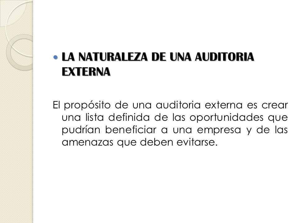 LA NATURALEZA DE UNA AUDITORIA EXTERNA LA NATURALEZA DE UNA AUDITORIA EXTERNA El propósito de una auditoria externa es crear una lista definida de las