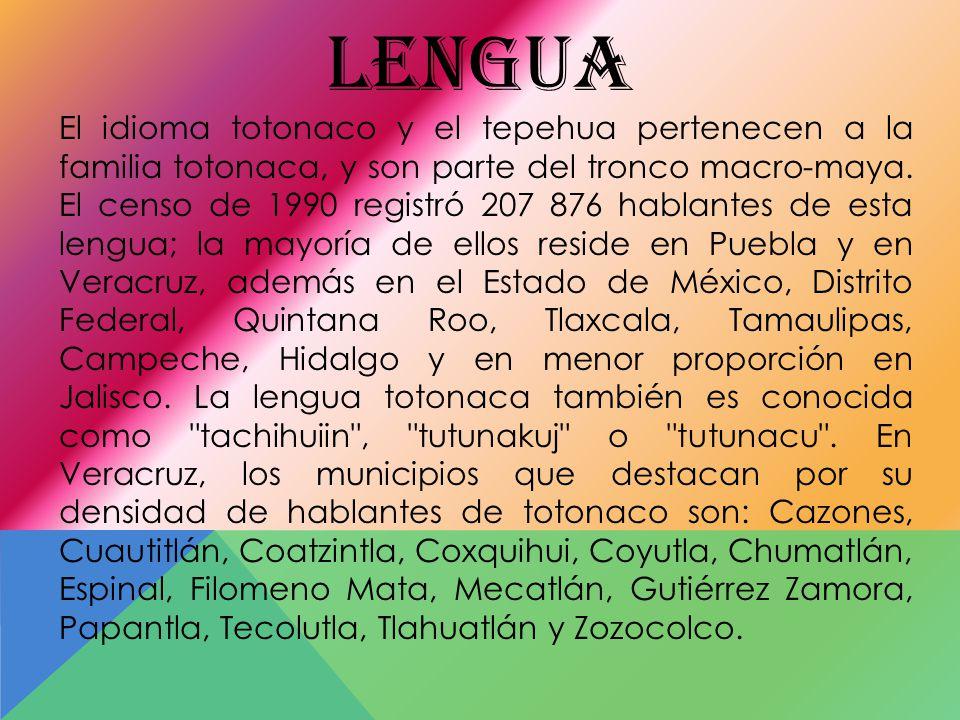 El idioma totonaco y el tepehua pertenecen a la familia totonaca, y son parte del tronco macro-maya.