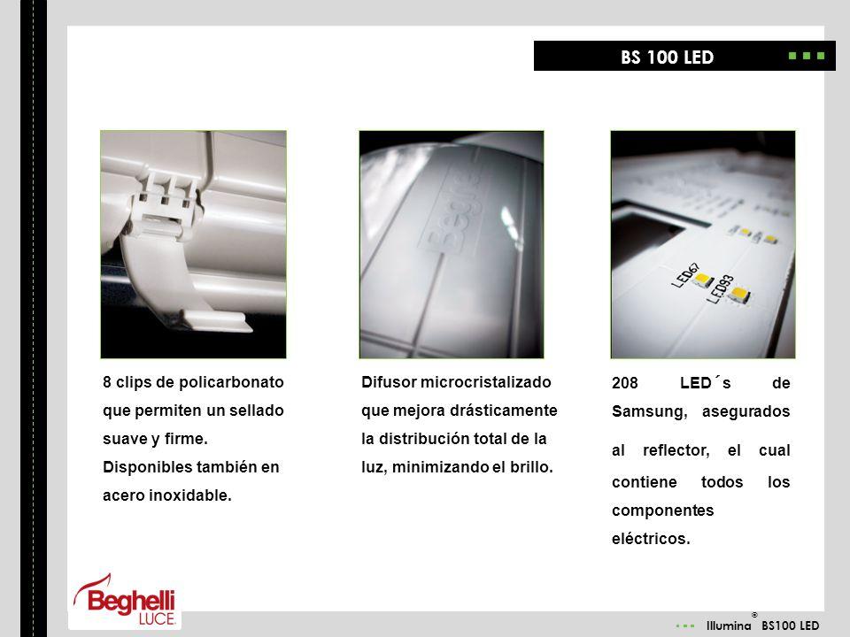 Illumina ® BS100 LED 8 clips de policarbonato que permiten un sellado suave y firme. Disponibles también en acero inoxidable. Difusor microcristalizad