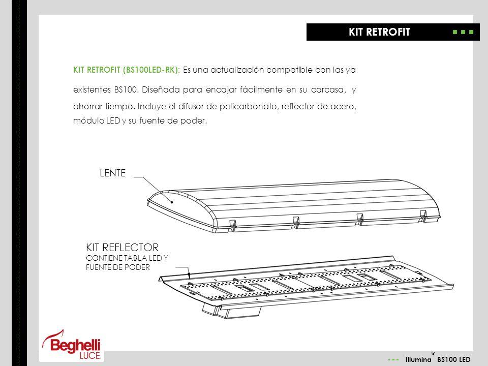 Illumina ® BS100 LED KIT RETROFIT (BS100LED-RK): Es una actualización compatible con las ya existentes BS100. Diseñada para encajar fácilmente en su c