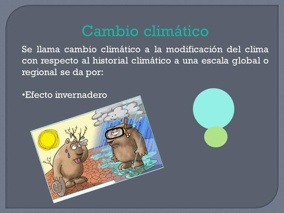 Cambio climático Se llama cambio climático a la modificación del clima con respecto al historial climático a una escala global o regional se da por: E