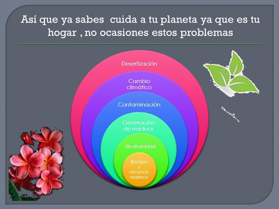 Desertización Cambio climático Contaminación Generación de residuos Biodiversidad Bosque y recursos marinos Así que ya sabes cuida a tu planeta ya que