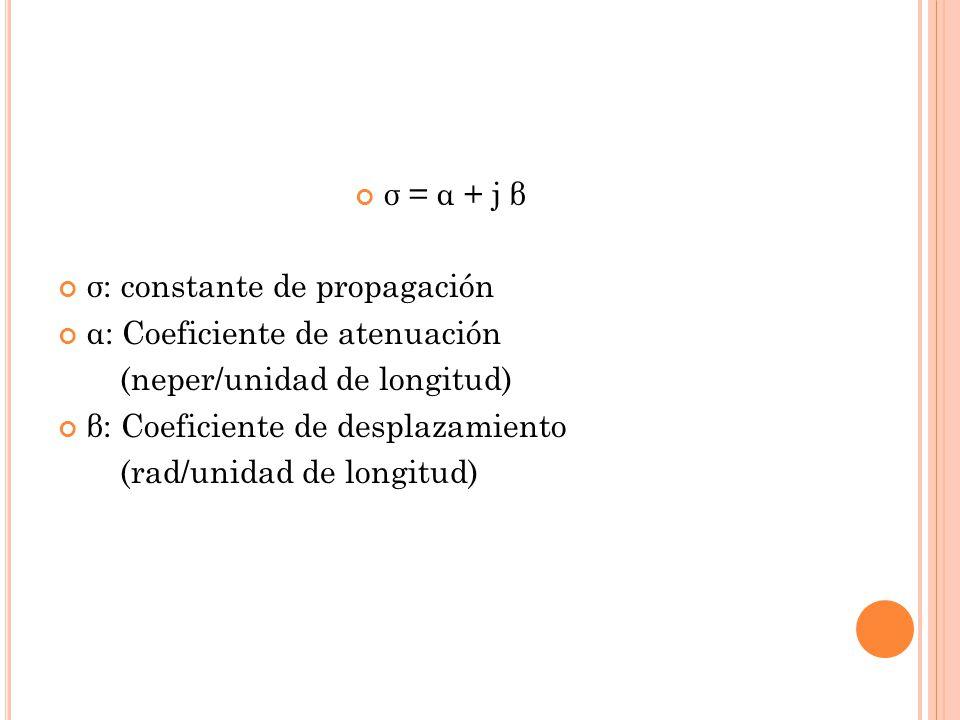 σ = α + j β σ: constante de propagación α: Coeficiente de atenuación (neper/unidad de longitud) β: Coeficiente de desplazamiento (rad/unidad de longit