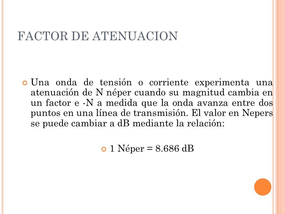 FACTOR DE ATENUACION Una onda de tensión o corriente experimenta una atenuación de N néper cuando su magnitud cambia en un factor e -N a medida que la