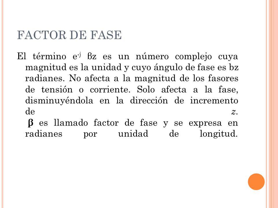 FACTOR DE FASE El término e -j βz es un número complejo cuya magnitud es la unidad y cuyo ángulo de fase es bz radianes. No afecta a la magnitud de lo