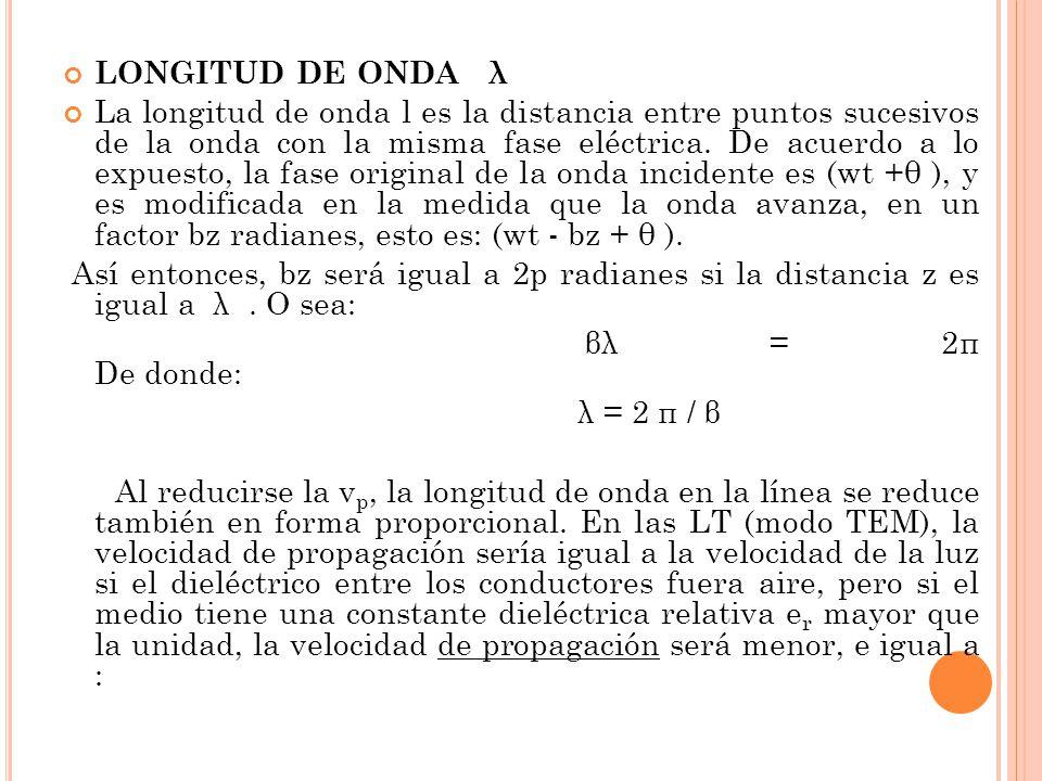 LONGITUD DE ONDA λ La longitud de onda l es la distancia entre puntos sucesivos de la onda con la misma fase eléctrica. De acuerdo a lo expuesto, la f