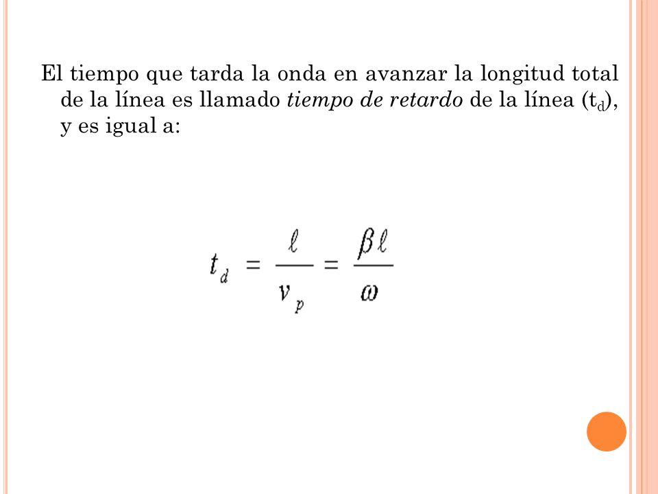 El tiempo que tarda la onda en avanzar la longitud total de la línea es llamado tiempo de retardo de la línea (t d ), y es igual a: