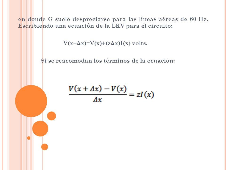 en donde G suele despreciarse para las líneas aéreas de 60 Hz. Escribiendo una ecuación de la LKV para el circuito: V(x+Δx)=V(x)+(zΔx)I(x) volts. Si s