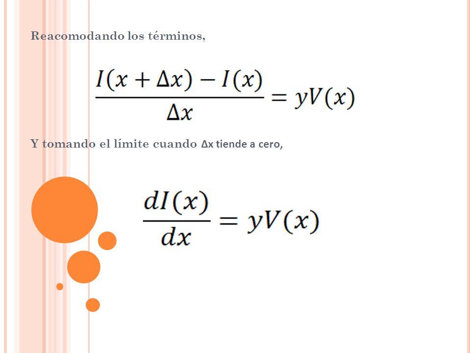Las dos ecuaciones anteriores respectivamente son ecuaciones diferenciales lineales homogéneas y de primer orden con dos incógnitas, V(x) e I(x).