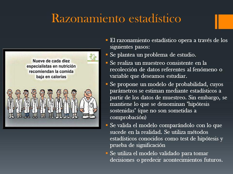 Razonamiento estadístico El razonamiento estadístico opera a través de los siguientes pasos: Se plantea un problema de estudio.