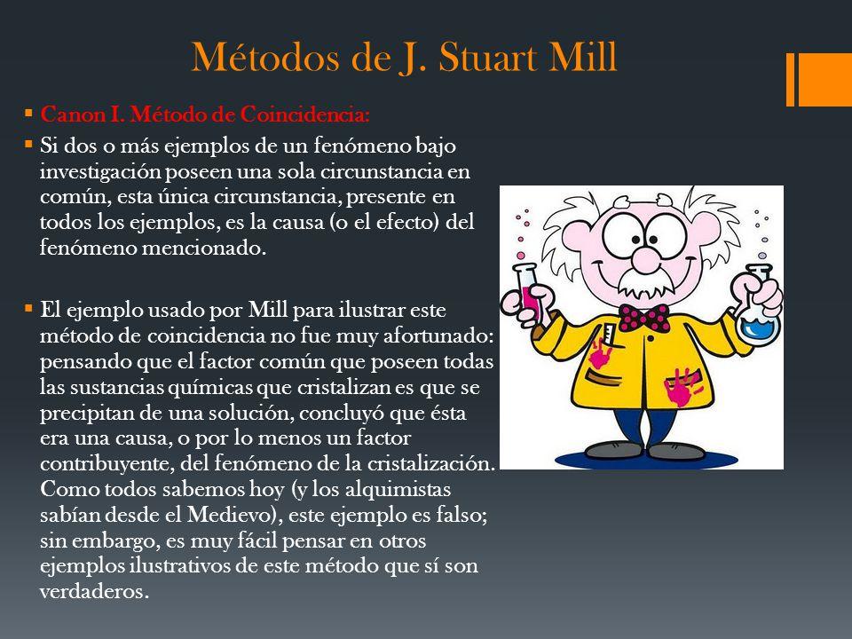Métodos de J. Stuart Mill Canon I. Método de Coincidencia: Si dos o más ejemplos de un fenómeno bajo investigación poseen una sola circunstancia en co
