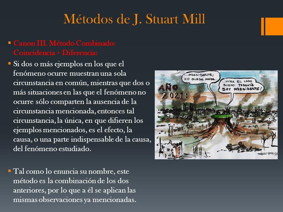 Métodos de J. Stuart Mill Canon III. Método Combinado: Coincidencia + Diferencia: Si dos o más ejemplos en los que el fenómeno ocurre muestran una sol