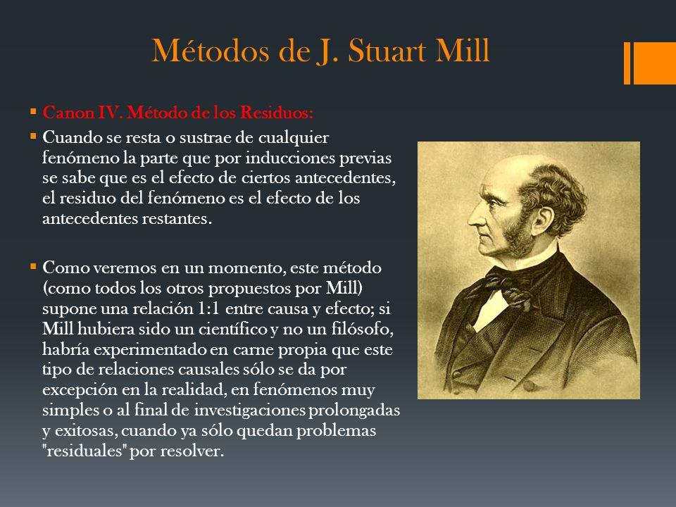 Métodos de J. Stuart Mill Canon IV. Método de los Residuos: Cuando se resta o sustrae de cualquier fenómeno la parte que por inducciones previas se sa