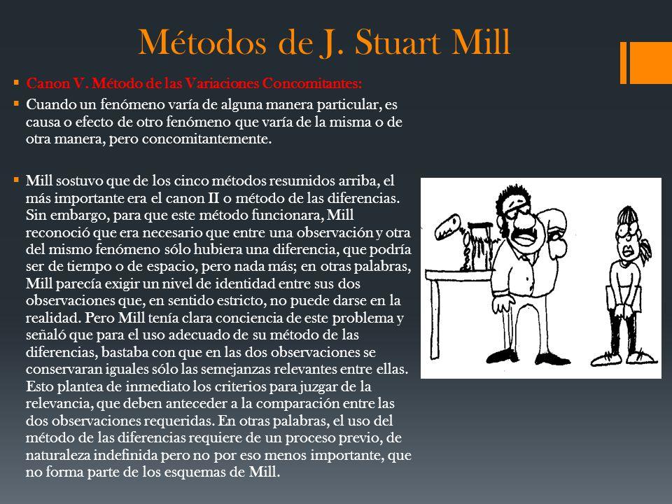 Métodos de J. Stuart Mill Canon V. Método de las Variaciones Concomitantes: Cuando un fenómeno varía de alguna manera particular, es causa o efecto de