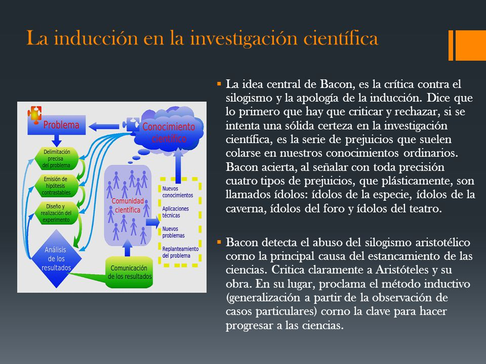 La inducción en la investigación científica La idea central de Bacon, es la crítica contra el silogismo y la apología de la inducción. Dice que lo pri