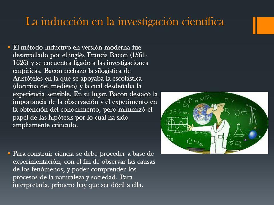 La inducción en la investigación científica El método inductivo en versión moderna fue desarrollado por el inglés Francis Bacon (1561- 1626) y se encuentra ligado a las investigaciones empíricas.