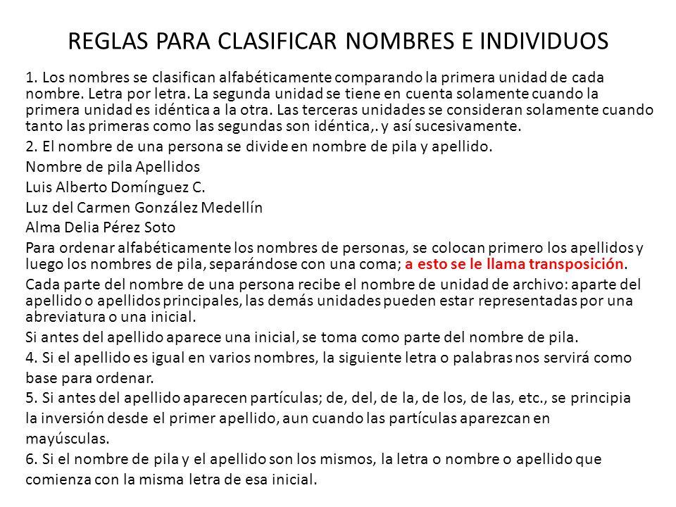 REGLAS PARA CLASIFICAR NOMBRES E INDIVIDUOS 1. Los nombres se clasifican alfabéticamente comparando la primera unidad de cada nombre. Letra por letra.