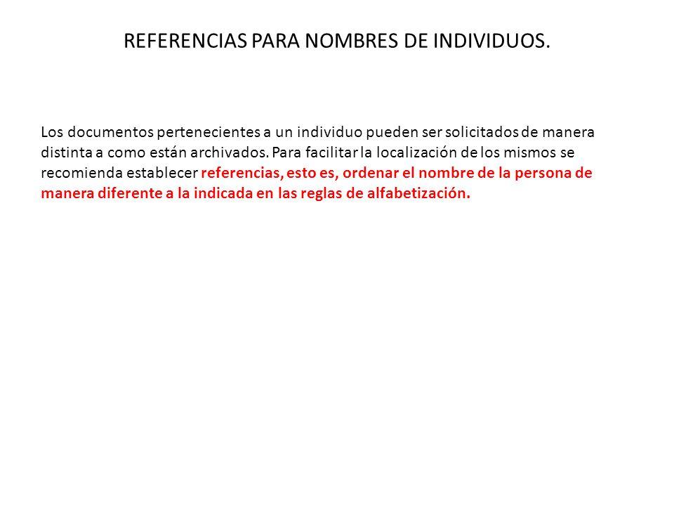 REFERENCIAS PARA NOMBRES DE INDIVIDUOS. Los documentos pertenecientes a un individuo pueden ser solicitados de manera distinta a como están archivados