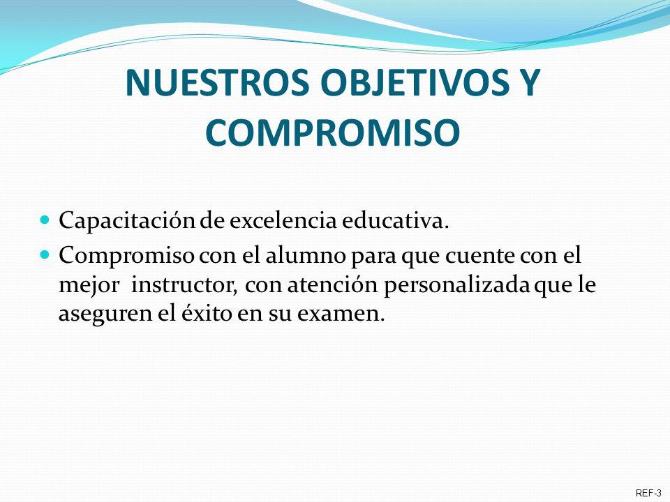NUESTROS OBJETIVOS Y COMPROMISO Capacitación de excelencia educativa.