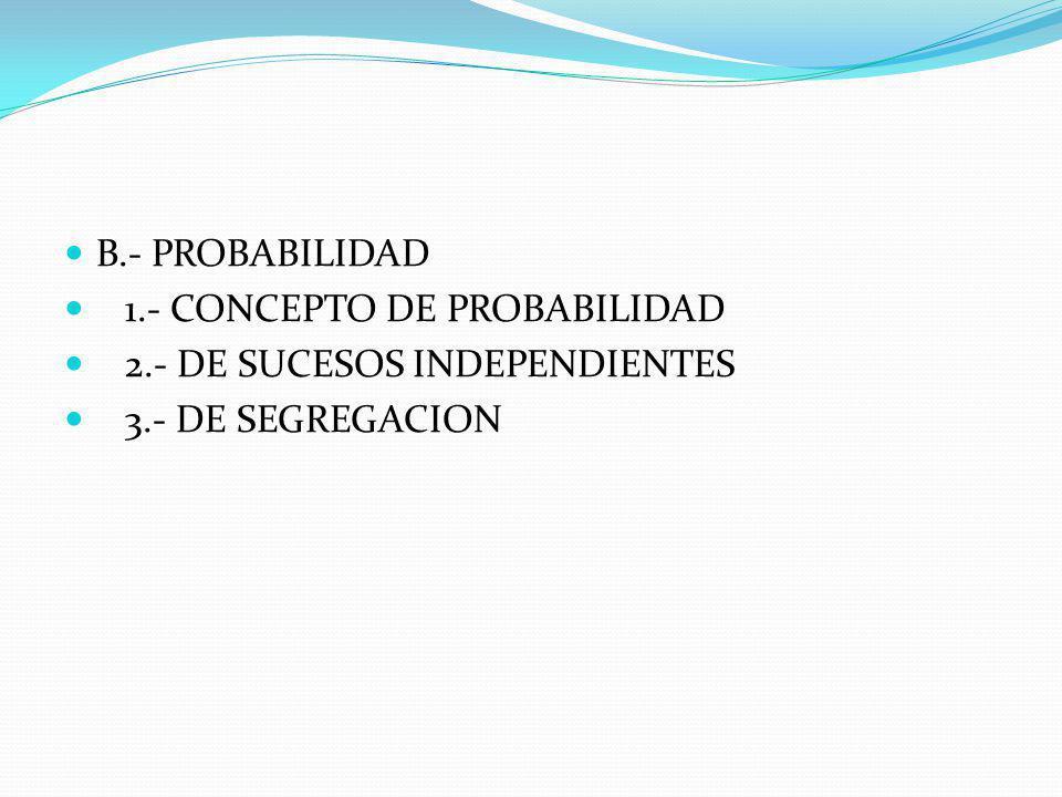 ACCION DE LOS GENES A) LEYES DE MENDEL 1.- DOMINANCIA 2.- RECESIVIDAD 3.- COODMINANCIA